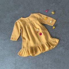 18AW tocoto vintage LACE DRESS + FOLD MUSTARD トコトヴィンテージ 裾フリルレースワンピース(マスタード)
