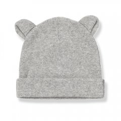 18AW 1+ in the family ABEL bonnet w/ears mid grey ワンモアインザファミリー くま耳キャップ(ライトグレー)