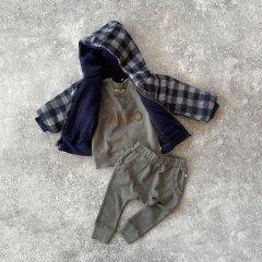 【SALE40%OFF】1+ in the family HARPER jacket blue/grey ワンモアインザファミリー フーデッドチェック柄コート(ブルー)