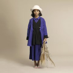 【SALE20%OFF】Little Creative Factory Horizon Dress Blue リトルクリエイティブファクトリー 長袖ワンピース(ブルー)
