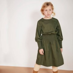 18AW Milk and Biscuits Army Green Smocked Dress ミルクアンドビスケッツ スモックワンピース(アーミーグリーン)