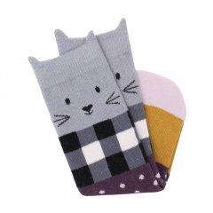 Billy Loves Audrey Gingham Cat Midi Sock ビリー ラブス オードリー ミディアム丈ソックス(ギンガムキャット)