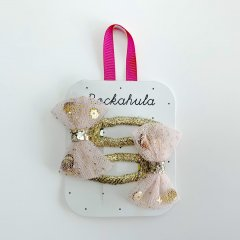 Rockahula Kids SEQUIN SHAKER BOW CLIPS GOLD/PINK ロッカフラキッズ チュールリボンヘアクリップ2本組(ゴールド/ピンク)