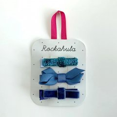 Rockahula Kids TWISTED GROSGRAIN GLITTER CLIPS BLUE ロッカフラキッズ リボンヘアクリップ3本組(ブルー)