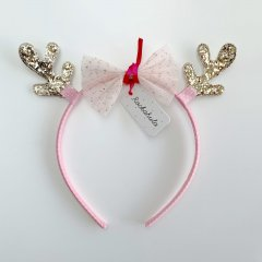 Rockahula Kids REINDEER TULLE BOW ALICE BAND PINK ロッカフラキッズ レインディアヘアカチューシャ