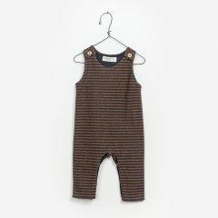 【SALE30%OFF】Play Up Striped Interlock Jumpsuit プレイアップ ストライプジャンプスーツ(ブラウン/ネイビー)