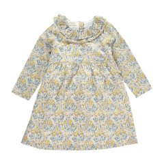 【SALE30%OFF】OLIVIER Martha Dress with Frill Collar Wysteria Yellow C オリビエ ラッフルカラー長袖ワンピース(イエロー)