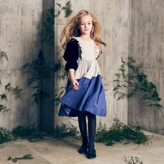 【SALE30%OFF】Nellystella Teniness Dress Oatmeal ネリーステラ 切替長袖ワンピース(オートミール)