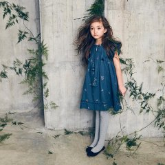 Nellystella Ester Dress Autumn Melody Embroidery ネリーステラ 襟紐ワンピース(ネイビー)