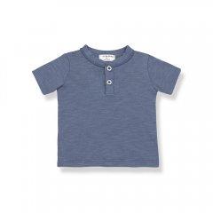 【SALE30%OFF】1+ in the family XIMO indigo ワンモアインザ・ファミリー ヘンリーネック半袖Tシャツ(インディゴ)