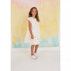 Softgallery Dacia Dress Pristine, AOP Fruity ソフトギャラリー ラッフルスリーブワンピース(ホワイト)