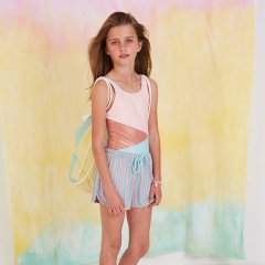 【SALE20%OFF】Softgallery Doria Shorts Bridal Rose, AOP Lines ソフトギャラリー ショートパンツ(ピンク/ライトブルー)