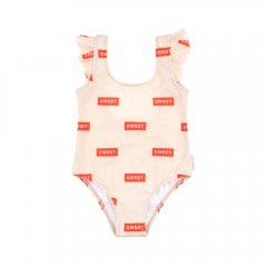 【SALE30%OFF】tinycottons 'SWEET' FRILLS SWIMSUIT cream/red SWEET柄スイムウェア(クリーム/レッド)