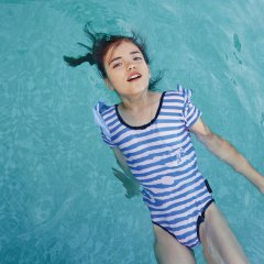 【SALE30%OFF】tinycottons STRIPES FRILL SWIMSUIT cream/ultramarine ストライプスイムウェア(クリーム/マリン)