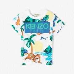 【SALE30%OFF】KENZO FARLEY OPTIC WHITE ケンゾー ロゴ入り柄Tシャツ(ホワイト)