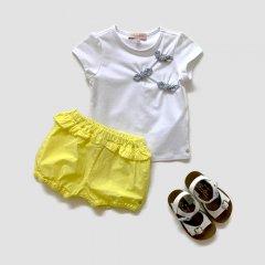 【SALE30%OFF】Lili Gaufrette GUAPA BLANC リリゴーフレット リボン付半袖カットソー(ホワイト)