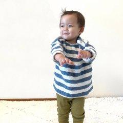 Play Up Striped Fleece Sweater プレイアップ ストライプ柄スウェット(ブルー/オフホワイト)