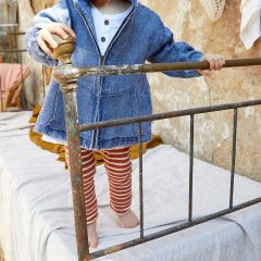 Play Up Striped RIB Legging プレイアップ ストライプ柄リブレギンス(ブラウン)