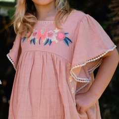 Louise  Misha Dress Vanilla Rusty ルイーズミーシャ ラッフル袖ワンピース(ピンク)