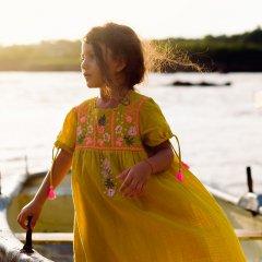 【SALE20%OFF】Louise  Misha Dress Coconut Safran ルイーズミーシャ タッセルリボン半袖ワンピース(イエロー)