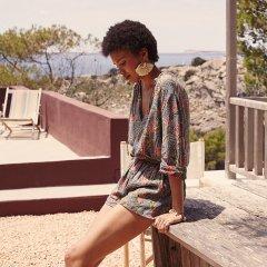 【SALE30%OFF】Louise  Misha Blouse Papaya Lagoon Leaves ルイーズミーシャ 袖ブラウス(ラグーンリーブス)
