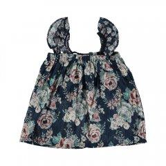 tocoto vintage Baby flowers dress FLOWERS トコトヴィンテージ ノースリーブ花柄ベビードレス(ネイビー)