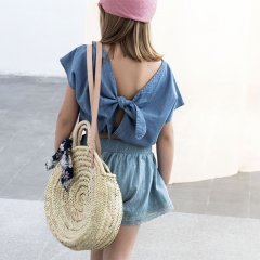tocoto vintage Straw round bag FLOWERS トコトヴィンテージ ストローラウンドバッグ(花柄)