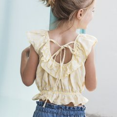 tocoto vintage Vichy squares blouse with ruffled low neckline back YELLOW トコトヴィンテージチェック柄ブラウス(イエロー)