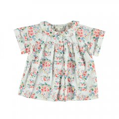 【SALE30%OFF】Piupiuchick BM.02A Peter pan collar blouse Flowers . cotton linen ピゥピゥチック 花柄半袖ブラウス(ホワイト)