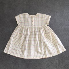 Piupiuchick MN.04A Short Dress Multicolor checkered . cotton linen ピゥピゥチック チェック半袖ミニワンピース(ホワイト)