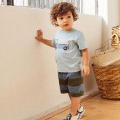 Tea Collection Patterned Cruiser Baby Shorts Painted Stripe- ティコレクション ストライプショートパンツ(ネイビー/ブラウン)
