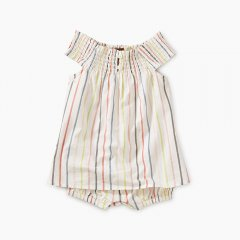 【SALE30%OFF】Tea Collection Stripe Smocked Romper Dress Paperwhite  ティコレクション ストライプスモックロンパース(ホワイト)
