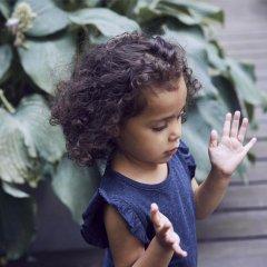 kids case Hunter organic kids top 190.dark blue キッズケース ラッフル袖カットソー(ダークブルー)