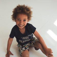 kids case Hunter organic kids print t-shirt 190.dark blue キッズケース  グラフィックプリントTシャツ(ダークブルー)