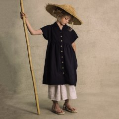 【SALE20%OFF】Little Creative Factory Washi dress 101.Black 襟付きワンピース(ブラック)