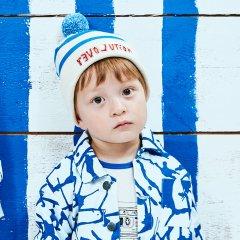 【SALE20%OFF】Noe & Zoe Stripy Beanie blue ビーニーキャップ(ブルー)