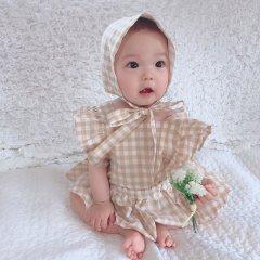 【SALE30%OFF】la petite blossom ESPIGA ochreGIRL ROMPER ラ プティ ブロッサム チェック柄ロンパース