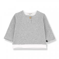 1 + in the family ANTON long sleeve t-shirt grey melange 重ね着風長袖カットソー(グレー)