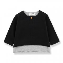 1 + in the family ANTON long sleeve t-shirt black 重ね着風長袖カットソー(ブラック)