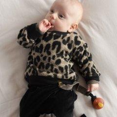 1 + in the family MANITOBA sweatshirt black/beige レオパード柄スウェットシャツ(ブラック/ベージュ)