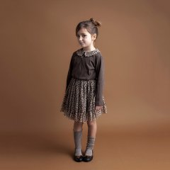 tocoto vintage  Combined animal print dress with tulle skirt and jersey top アニマルプリント襟付き長袖ワンピース(ブラウン)