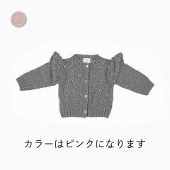 【SALE30%OFF】tocoto vintage Baby Openwork knitted cardigan PINK トコトヴィンテージ  ショルダーレースニットカーディガン(ピンク)