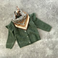 【SALE30%OFF】tocoto vintage Baby Openwork knitted cardigan DARK GREEN ショルダーレースニットカーディガン(ダークグリーン)