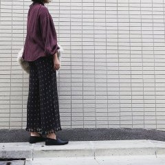 the new society ISABELLA PANTS WITH POM POM PRINT ザ ニューソサエティ 裾フリンジ付ロングパンツ(ブラック)