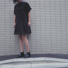 【SALE30%OFF】the new society JULIETTE. DRESS PRINT ザ ニューソサエティ スタンドカラーワンピース(ブラック)
