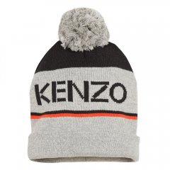KENZO LOGO JB MARL GREY ケンゾー ポンポン付ニットキャップ(グレー)