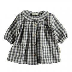 piupiuchick Baby dress peter pan ecru & grey checkered ピゥピゥチック 襟付き長袖ワンピース(グレーチェック)
