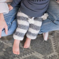 【SALE30%OFF】piupiuchick Knitted baby leggings ecru with grey stripes ピゥピゥチック ニットレギンス(ストライプ)