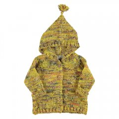 piupiuchick Knitted hooded jacket with wood buttons mustard with mixed colors フード付ニットジャケット(マスタード)