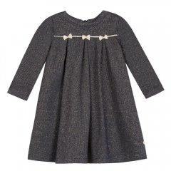 Lili Gaufrette baby LORYNE NAVY リリゴーフレット 金糸リボン長袖ワンピース(ネイビー)